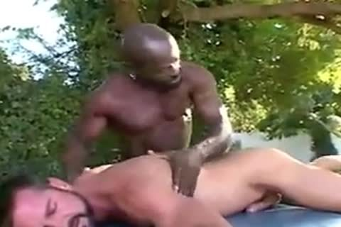 Interracial Massage outdoors